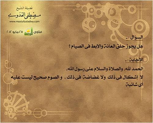 هل يجوز حلق العانة والإبط فى الصيام الموقع الرسمي لفضيلة الشيخ مصطفى العدوي